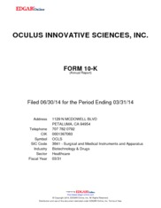 Oculus Innovative Sciences, Inc.