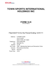 Town Sports International Holdings, Inc.