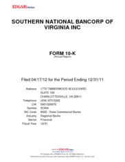 Southern National Bancorp of Virginia, Inc