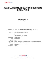 Alaska Communications Systems Group Inc.