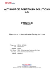 Altisource Portfolio Solutions S.A.