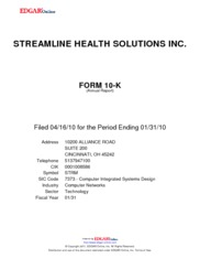 Streamline Health Solutions, Inc.