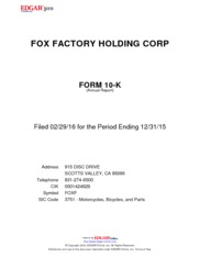 Fox Factory Holding Corp