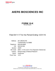 Akers Biosciences Inc.